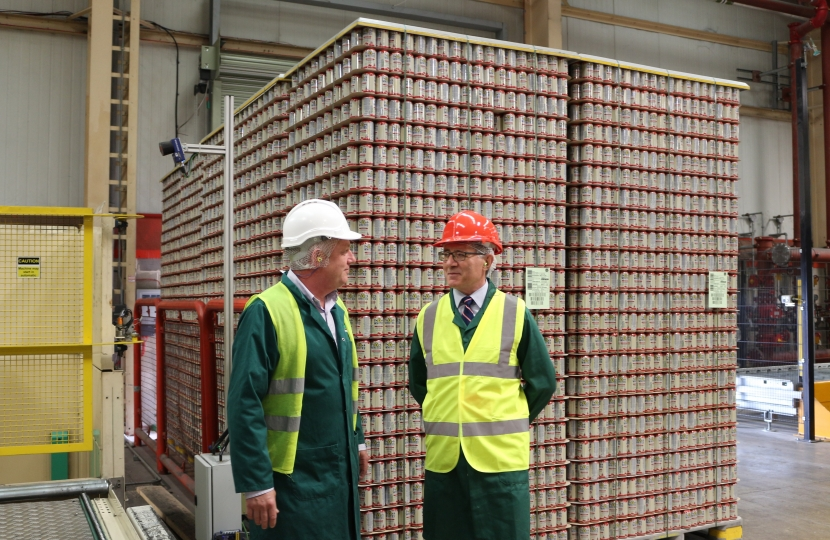 Rugby MP Mark Pawsey (right) at Britvic's Rugby site with their Director of Production, Jeremy Howard